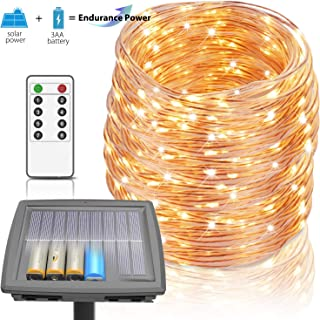 100 Ft Solar Rope Lights, Outdoor String Lights Powered by Solar and Battery, 8 Modes 300 LEDs IP67 Waterproof Solar Fairy Lights with RF Remote for Patio Garden Party Home Decor (Warm White)