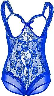 EVBEA Sexy Lingerie for Women Black Lace Teddy Fishnet Bodysuit Sleepwear Babydoll Chemise Nightgown Plus Size
