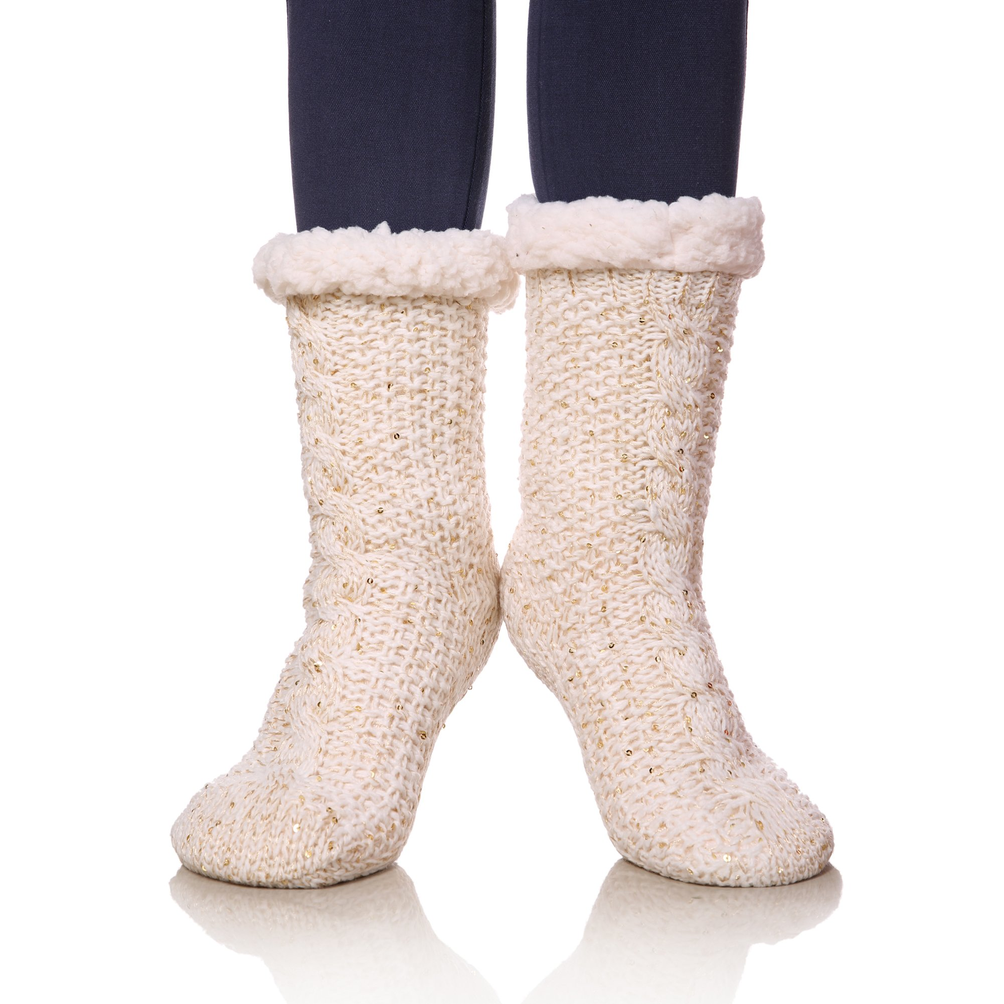 SDBING Womens Sequin Super Soft Warm Cozy Fuzzy Fleece-lined Winter Christmas gift Slipper socks