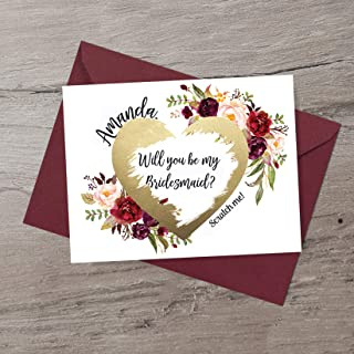 Will You Be My Bridesmaid? Scratch Card Bridesmaid Proposal Scratch off Card Custom Flower Girl Cute Gift Maid of Honor Card Will You Be My Card Burgundy