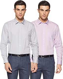 Amazon Brand - Symbol Men's Solid Regular Fit Full Sleeve Cotton Formal Shirt (Combo Pack of 2)
