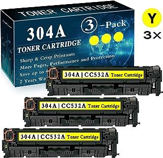 3 Pack CP2025 CP2025n CP2025dn CP2025x CM2320n CM2320fxi CM2320nf MFP Yellow Remanufactured Printer Toner Cartridge Replacement for HP 304A CC532A Toner Cartridge