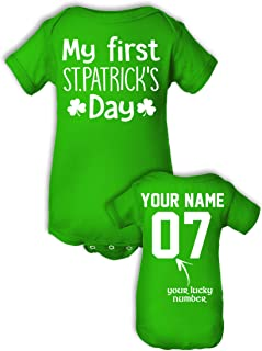 Custom Babies' Saint Patrick's Day Shirts - Add Name & Number - Cotton Onesie