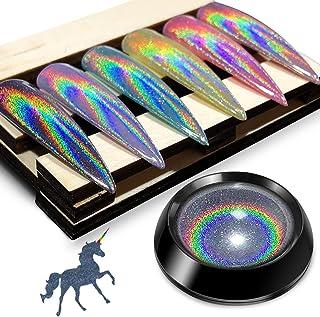 Holographic Chrome Nail Powder - iMethod Premium Salon Grade Rainbow Unicorn Mirror Effect Multi Chrome Manicure Pigment, 0.04oz/1g
