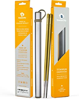 Chopsticks, 1 Pair of Titanium Chopsticks Ultra Lightweight Professional (Ti), Super Strong Healthy and Eco-Friendly 1 Pair of Chopstick Comes with Free Aluminium Case (Golden)
