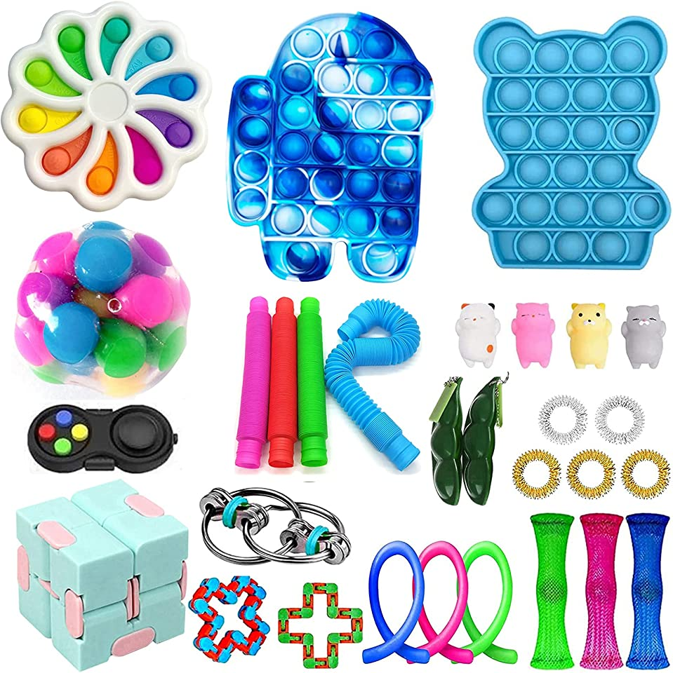 Fidget Toy Packs Cheap Fidget Box with Simples-Dimples Push Pop Bubble DNA Stress Relive Balls Infinite Cube for Kids Adults ADHD ADD Anxiety Autism (30PCS CC)