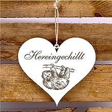 Bord hart ingechillt - deurbordje met motief hangende luiaard
