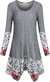 Faddare Women's Irregular Hem T-Shirt Dress Casual Loose Fit Pockets Swing Dress