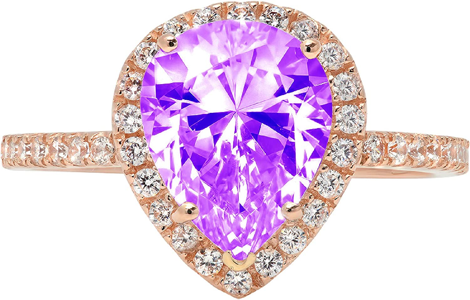 2.45ct Brilliant Pear Cut Solitaire with Accent Halo Natural Purple Amethyst Gem Stone Ideal VVS1 Engagement Promise Anniversary Bridal Wedding Ring Real 14k Rose Gold