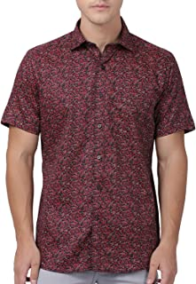 Zeal Half Sleeve Shirt for Men Cotton Casual Regular Fit Floral Printed Maroon