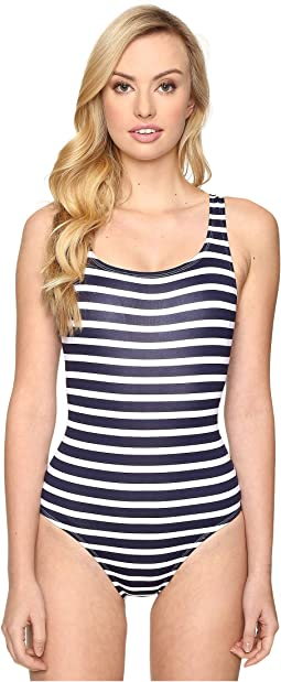 Breton Stripe Laced-Back One-Piece Swimsuit