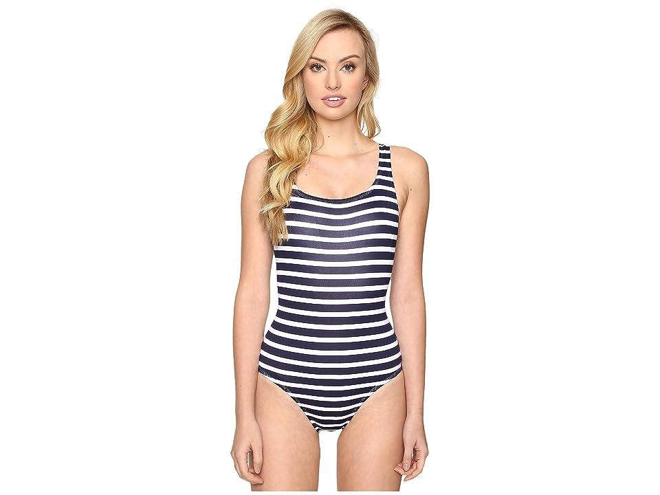 Tommy Bahama Breton Stripe Laced-Back One-Piece Swimsuit (Mare Navy/White) Women
