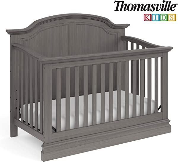 Thomasville Kids Wellington 4 In 1 Convertible Crib Vintage Slate Gray Converts To Toddler Bed Daybed Or Full Size Bed 3 Position Adjustable Mattress Support Base