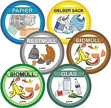 Restm/üll, Gelber Sack, Biom/üll, Alt-Glas, Papier-M/üll, E-Schrott, Metall, Batterien und M/ülltrennung mit kinderfreundlichen Symbolen Resorti Aufkleber 8er Set f/ür Abfall