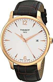 Tissot Men's T0636103603700 Analog Quartz Brown Leather Strap Silver Dial Watch