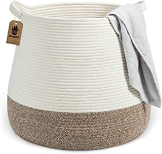 "Goodpick Wicker Basket   17.71"" x 17.71""Boho Laundry Basket Storage Basket for Toys, Towels, Blankets Farmhouse Weave Rope..."