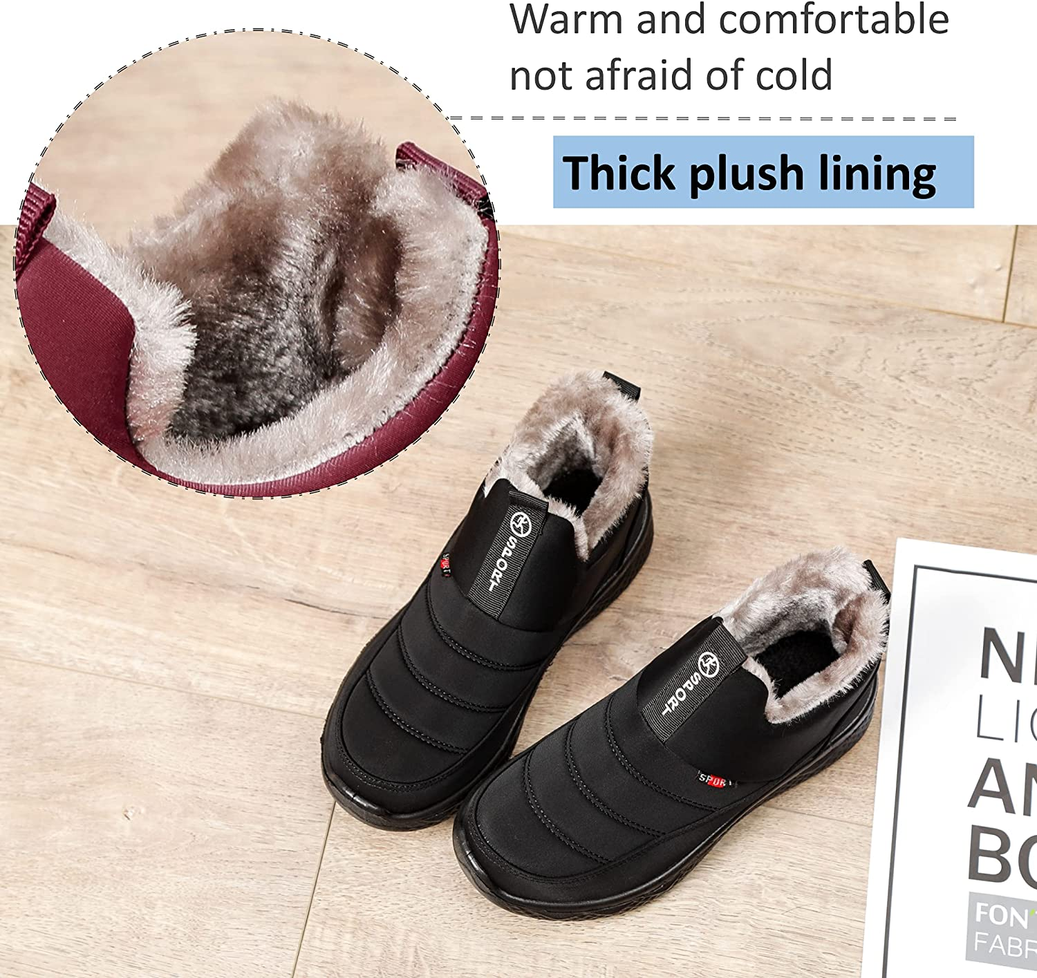 MAIZUN Women's Snow Boots Winter Warm Fur Lined Ankle Boot Waterproof Anti-Slip Outdoor Sports Shoes