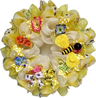 Bumble Bee Floral Spring Summer Deco Mesh Wreath