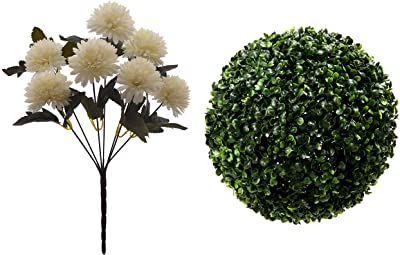 Fourwalls Artificial Topiary (22 cm, Green) + Chrysanthemum Ball Flower Bouquet (49 cm, White, 7 Branches)