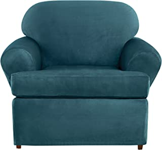 SURE FIT Ultimate Heavyweight Stretch Suede Individual 2 Piece T-Cushion Chair Slipcover - Peacock Blue