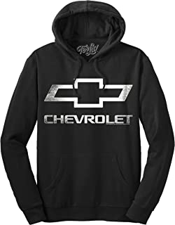Chevrolet Bow Tie Logo Pull Over Hoodie   Soft Touch Warm Poly Cotton Blend   Officially Licensed Hooded Sweatshirt
