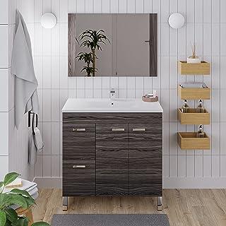 Crocket meuble salle de bain wc Elbrús avec vasque et miroir - en bois gris - meuble sous lavabo de rangement - 80 x 80 x 45