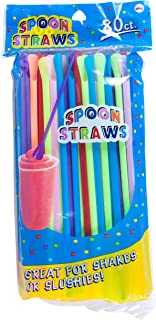 Jacent Plastic Multicolored Snow Cone Spoon Straws, 80 Count per Pack, 1 Pack