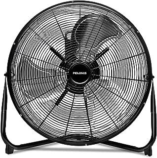 PELONIS FE50-18N 20 inch 3-Speed Air Circulator, Heavy Duty High Velocity Floor Fan, Metal Black (Renewed)