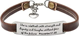 Religious Bracelets for Women Christian Leather Bracelet Inspirational Gifts for Her