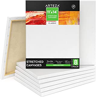 "Arteza Stretched Canvas 11x14"" White Blank Bulk Pack of 8, Primed, 100% Cotton for Painting, Acrylic Pouring, Oil Paint & Wet Art Media"