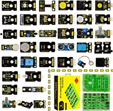 KEYESTUDIO 37 in 1 Sensor V2.0 Kit for Arduino+Tutorial, Upgraded Sensor kit with Traffic Light Module, Capacitive Touch Module, Ball Tilt Switch Sensor, Temperature &Humidity, Ceramic Vibration