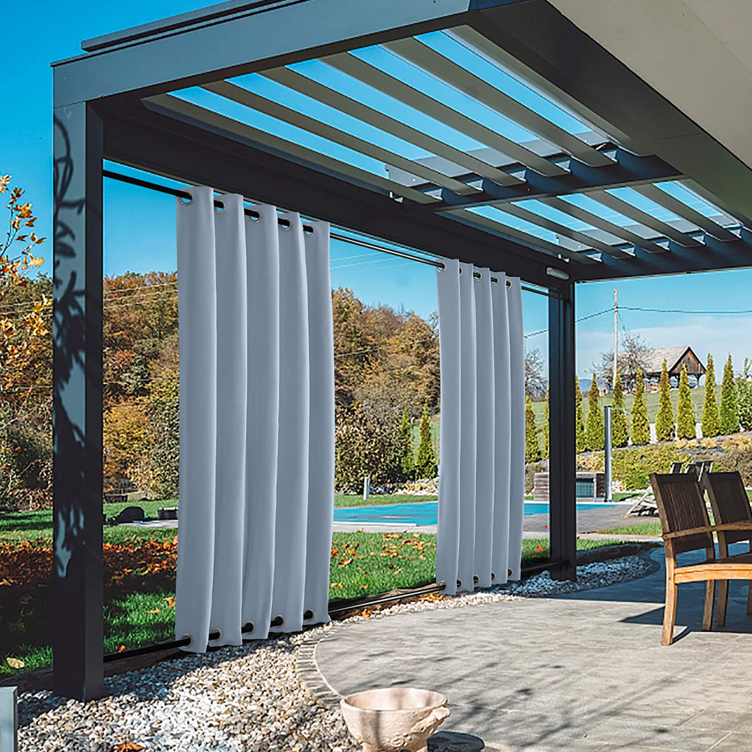 TWOPAGES Outdoor Windproof Curtain 大人気 with Rustproof 特価 Top Bottom and