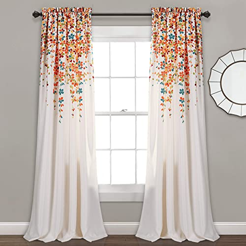 Gentil Lush Decor Weeping Flowers Room Darkening Window Panel Curtain Set (Pair),  84u201d