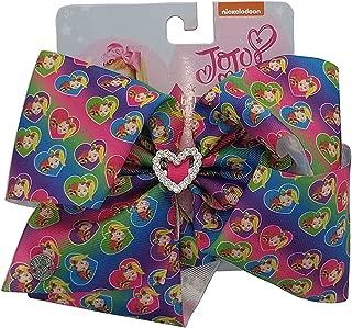 Jojo Siwa Bow Large Signature Collection - Rainbow with Jojo and Bow Bow w/Rhinestone Heart Center