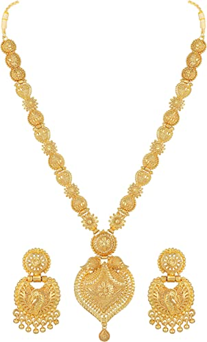 Floral design One Gram Gold plated Long Necklace Jewellery Set for women