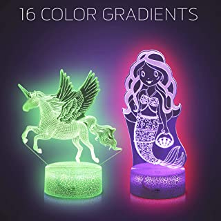 Kids LED Night Light with 3D Illusion Technology, Unicorn and Mermaid - Color Changing Bedroom Lights, Bedside Night Lamp - with Remote and Free 2 Unicorn Bracelets and 1 Beautiful Gift Card
