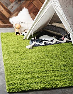 Unique Loom Solo Solid Shag Collection Modern Plush Grass Green Area Rug (5' 0 x 8' 0)