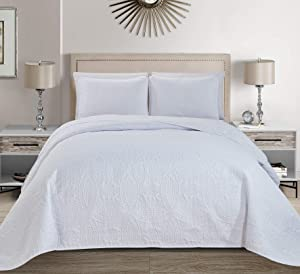 Linen Plus Collection 3 Pieces King/California King Over Size Embossed Coverlet Bedspread Set Solid White 118