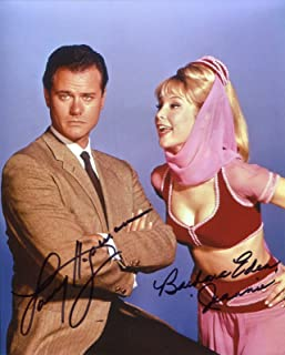 Barbara Eden & Larry Hagman Autographed I Dream of Jeannie Signed 8x10 glossy Photo Portraying Major Anthony Nelson and Jeannie. Includes Fanexpo Certificate of Authenticity and Proof. Entertainment Autograph Original.