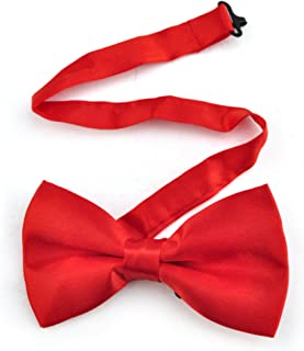 TopTie Mens Formal Solid Red Banded Bow Tie, Breast Cancer Awareness