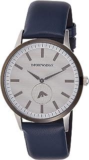 Emporio Armani Men's Dress Stainless Steel Quartz Watch with Leather Calfskin Strap, Blue, 22 (Model: AR11119)