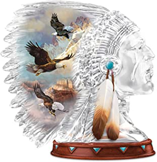 The Bradford Exchange Ted Blaylock Crystalline Warrior Headdress Sculpture with Eagle Art and Feathers