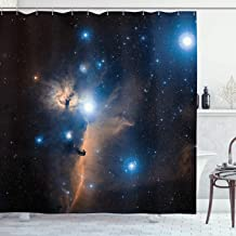 Ambesonne Space Decorations Collection, Nebula Gas Clouds in the Outer Space Moving Image Dynamic Celestial Mystery Dust Cosmos, Polyester Fabric Bathroom Shower Curtain, 75 Inches Long, Navy