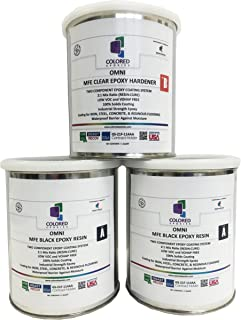 Coloredepoxies 10005 Black Epoxy Resin Coating Made with Beautiful and Vibrant Pigments, 100% Solids, for Garage Floors, Basements, Concrete and Plywood. 3 Quart Kit