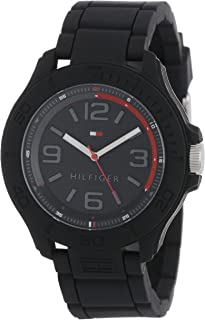 Tommy Hilfiger Men's 1790944 Cool Sport Silicone Wrapped Case and Black Silicone Strap Watch