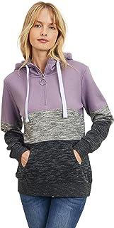 Women's Ultra Soft Fleece Midweight Casual 1/4 Zip-Up Pullover Hoodie Sweatshirt