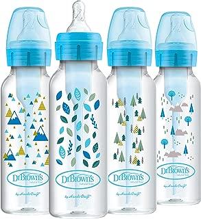 Dr. Brown's Options + Baby Bottles, 8oz/250ml, Narrow Bottle, Blue Nature Designs, 4 Pack
