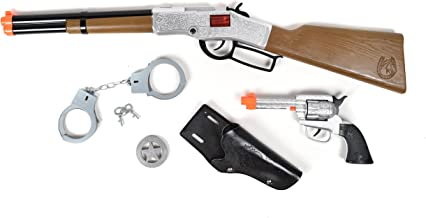 Sunny Days Entertainment Maxx Action Deluxe Western Toy Rifle Play Set with Bonus Toy Pistol, Handcuffs, Holster, Sheriff'S Badge & 8Count Ring Caps