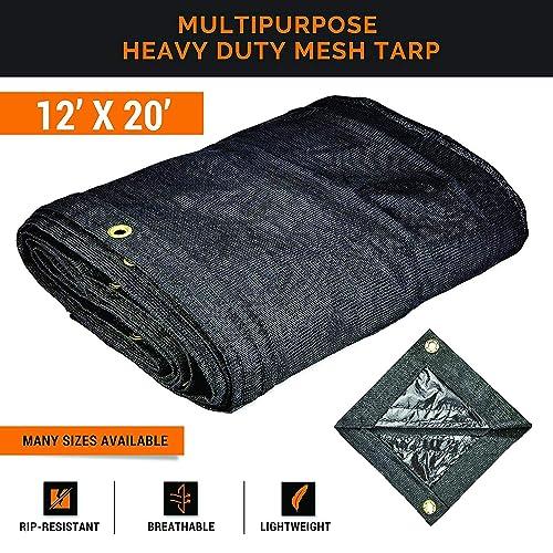 Xpose Safety Heavy Duty Mesh Tarp – 12 x 20 Multipurpose Black Protective Cover