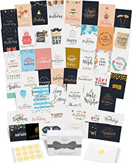 Dessie 50 Unique Birthday Cards Assortment with Generic Birthday Greetings Inside. Suitable For Men, Women and Kids At Hom...